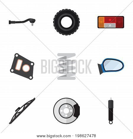 Flat Icon Parts Set Of Metal, Input Technology, Headlight And Other Vector Objects
