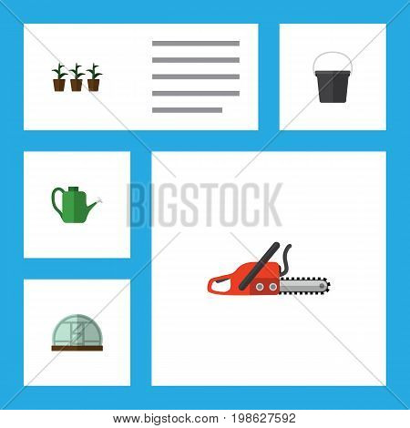 Flat Icon Farm Set Of Pail, Hacksaw, Bailer And Other Vector Objects