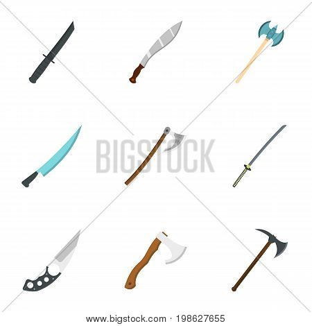 Military steel weapons icon set. Flat style set of 9 cold weapon vector icons for web isolated on white background