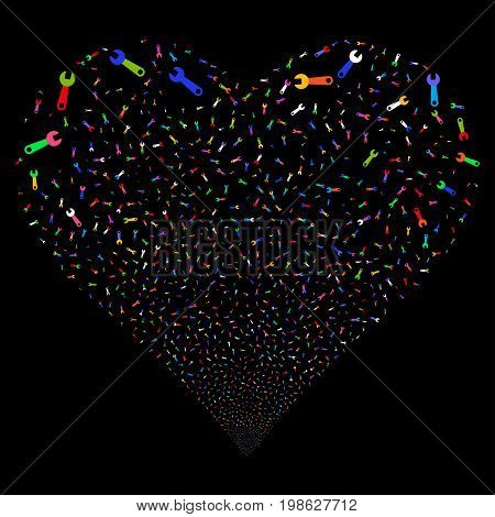 Wrench fireworks with heart shape. Vector illustration style is flat bright multicolored iconic symbols on a black background. Object valentine heart organized from random pictographs.