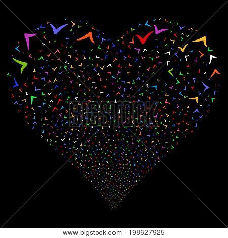 Yes fireworks with heart shape. Vector illustration style is flat bright multicolored iconic symbols on a black background. Object heart done from random design elements.