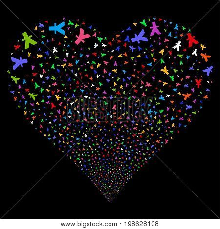 Yuan fireworks with heart shape. Vector illustration style is flat bright multicolored iconic symbols on a black background. Object love heart organized from scattered icons.