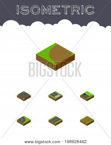 Isometric Road Set Of Footpath, Crossroad, Turning And Other Vector Objects