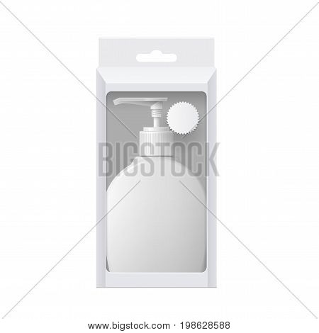 Realistic Cosmetic bottle In a cardboard box with a transparent window. Oval shaped dispenser for cream, soap, and other cosmetics. Template For Mockup Your Design. vector illustration.