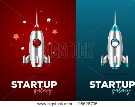 Realistic vector template with two color illustration of shiny metal space rocket with text and stars on red and blue background. Startup business concept with shuttle. 3d design of spaceship for web, site, presentation