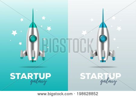Startup business concept with shuttle. Realistic vector template with two color illustration of shiny metal space rocket with text and stars on gray and blue background. 3d design of spaceship for web, site, presentation