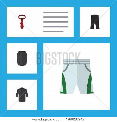 Flat Icon Garment Set Of Trunks Cloth, Uniform, Cravat And Other Vector Objects