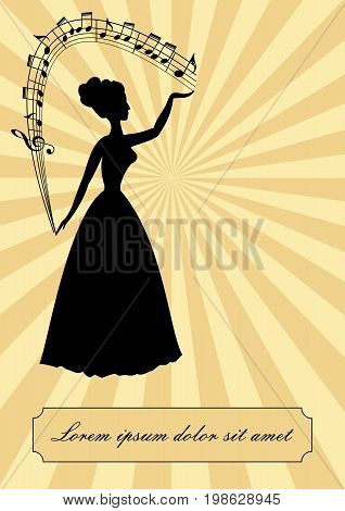 Music theme vintage design victorian lady silhouette with stave arc treble clef notes beige retro background vector EPS 10