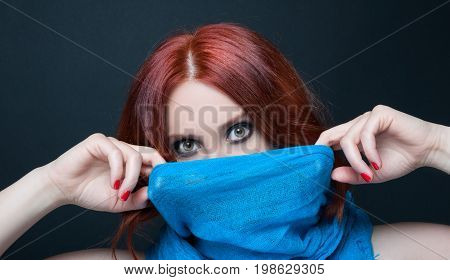 Mysterious Woman Holding Vail Or Scarf
