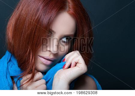 Delicate Woman Wearing Blue Color Scarf