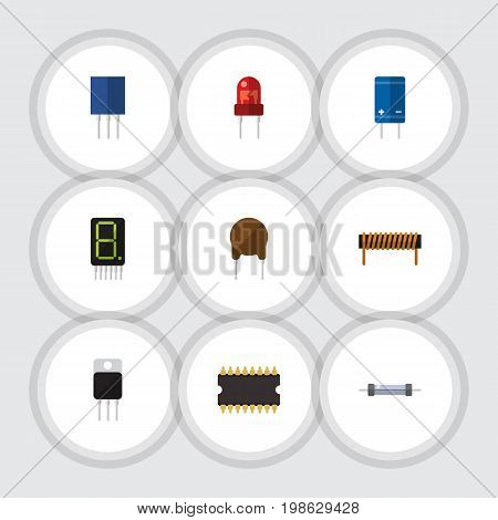 Flat Icon Electronics Set Of Resistor, Bobbin, Transistor And Other Vector Objects