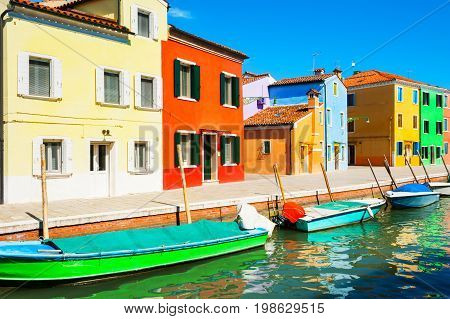 Scenic Canal And Colorful Houses In Burano, Italy