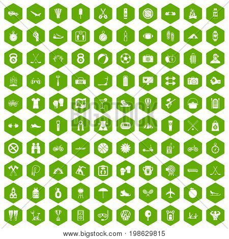 100 active life icons set in green hexagon isolated vector illustration