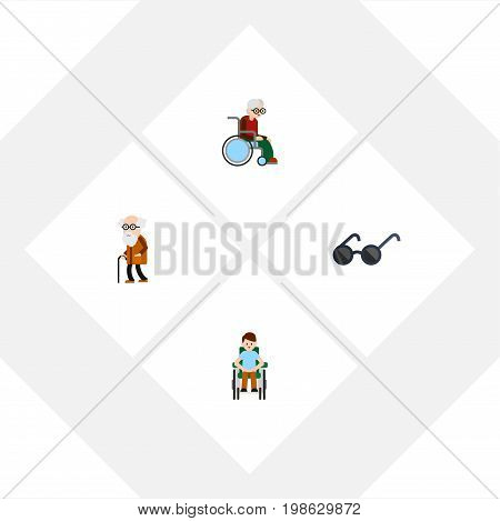 Flat Icon Disabled Set Of Wheelchair, Ancestor, Disabled Person And Other Vector Objects
