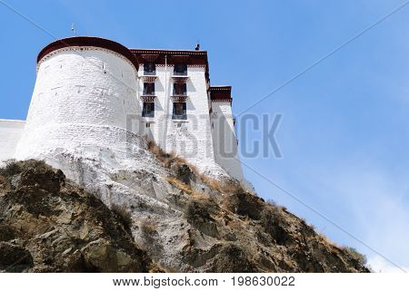 The Potala palace tower in Lhasa, Tibet and the blue sky
