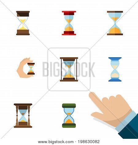 Flat Icon Sandglass Set Of Sandglass, Loading, Hourglass Vector Objects