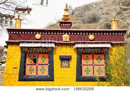 Yellow temple for praying in Lhasa, Tibet, horizontal view
