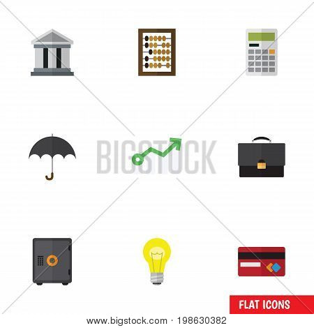 Flat Icon Incoming Set Of Portfolio, Parasol, Bubl And Other Vector Objects