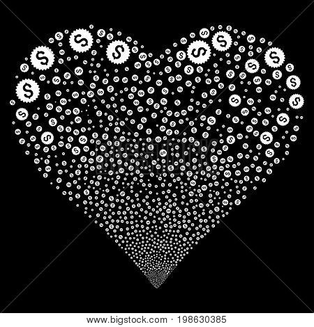 Bank Seal fireworks with heart shape. Vector illustration style is flat white iconic symbols on a black background. Object love heart made from scattered icons.