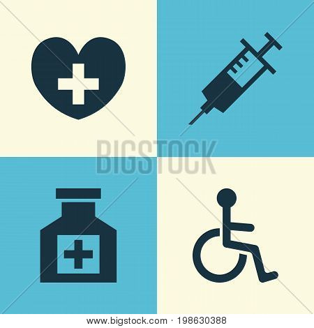 Drug Icons Set. Collection Of Disabled, Painkiller, Heal And Other Elements