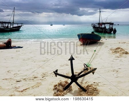 A fisherman's boat with anchor in northern Zanzibar