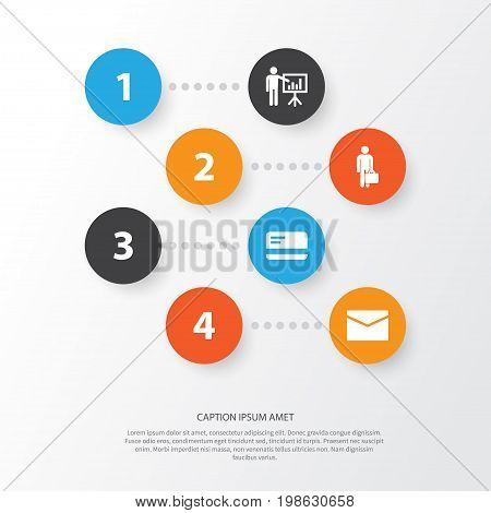 Job Icons Set. Collection Of Presenting Man, Envelope, Work Man And Other Elements