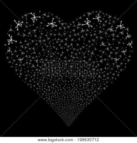Big Bang fireworks with heart shape. Vector illustration style is flat white iconic symbols on a black background. Object salute created from scattered symbols.