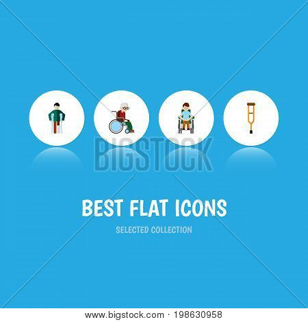 Flat Icon Disabled Set Of Injured, Wheelchair, Disabled Person And Other Vector Objects