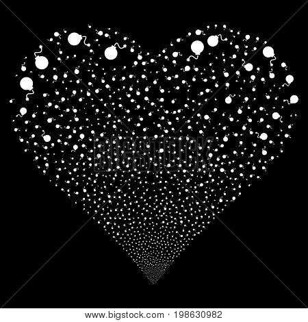 Bomb fireworks with heart shape. Vector illustration style is flat white iconic symbols on a black background. Object love heart organized from random icons.