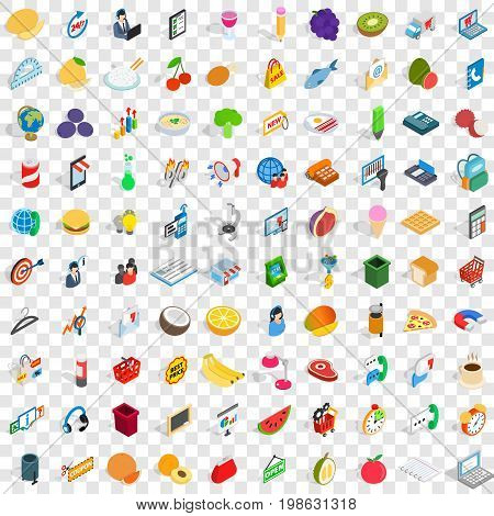 100 shop icons set in isometric 3d style for any design vector illustration