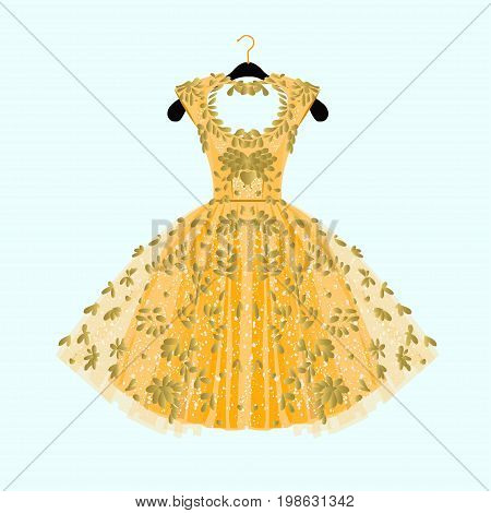 Gorgeous golden dress. Party dress with fancy decor.Fashion illustration