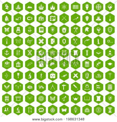 100 archeology icons set in green hexagon isolated vector illustration