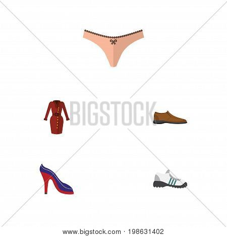 Flat Icon Dress Set Of Sneakers, Lingerie, Clothes And Other Vector Objects