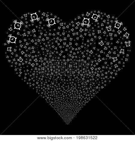 Buzzer fireworks with heart shape. Vector illustration style is flat white iconic symbols on a black background. Object stream combined from scattered design elements.