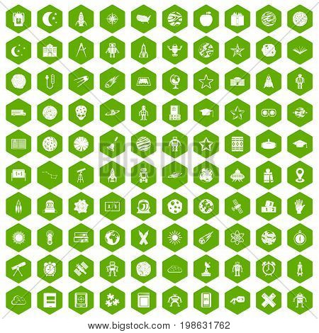 100 astronomy icons set in green hexagon isolated vector illustration
