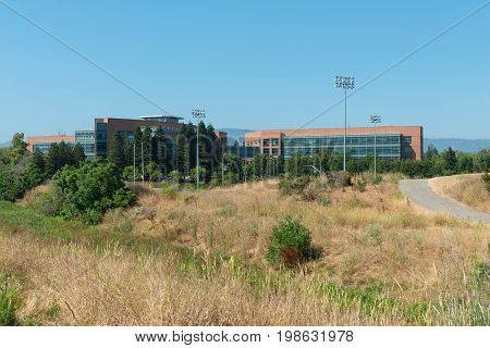 High technology office building and park land Mountain View California