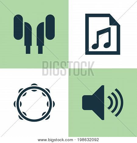 Music Icons Set. Collection Of File, Timbrel, Earmuff And Other Elements