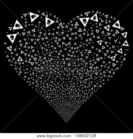 Caution fireworks with heart shape. Vector illustration style is flat white iconic symbols on a black background. Object stream created from random symbols.