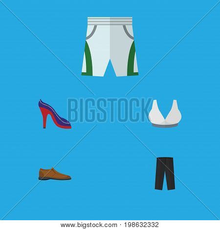Flat Icon Clothes Set Of Trunks Cloth, Heeled Shoe, Male Footware And Other Vector Objects