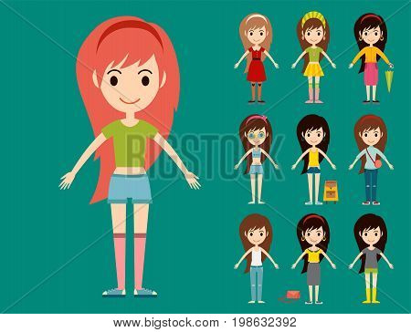 Street fashion girls models wear style fashionable stylish woman characters clothes looks vector illustration. Attractive pretty elegance posing person.