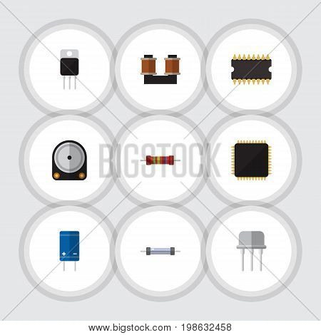 Flat Icon Technology Set Of Resist, Resistance, Cpu And Other Vector Objects