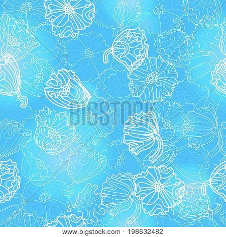 Seamless pattern with flowers and leaves of poppies light contour plants on a blue background