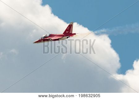 Moscow Region - July 21, 2017: Aerobatic display plane Yak flies at the International Aviation and Space Salon (MAKS) in Zhukovsky.