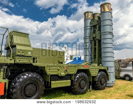 Moscow Region - July 21, 2017: The S-400 Triumf russian anti-aircraft weapon system at the International Aviation and Space Salon (MAKS).