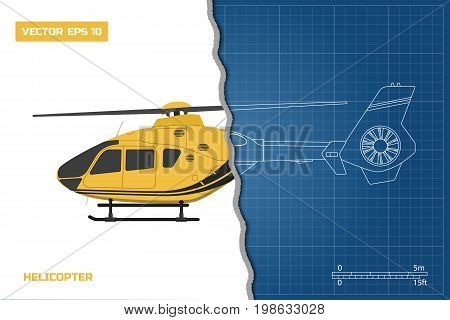 Engineering blueprint of helicopter. Helicopters view: side. Industrial drawing. Vector illustration