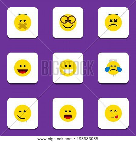 Flat Icon Gesture Set Of Delicious Food, Cross-Eyed Face, Winking And Other Vector Objects
