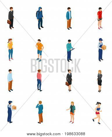 Cool isometric people of different professions by job education level sex clothes hairs isolated vector illustration