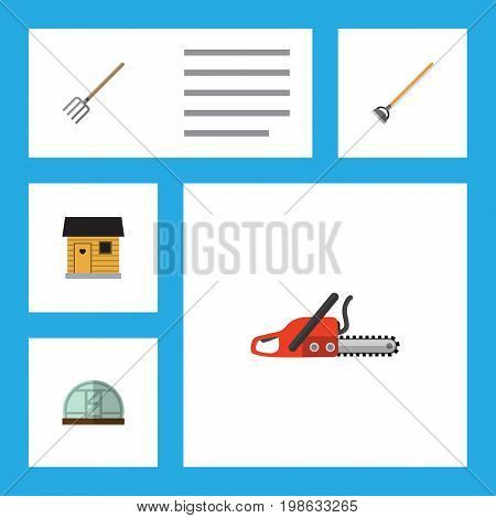 Flat Icon Garden Set Of Stabling, Hay Fork, Hothouse And Other Vector Objects