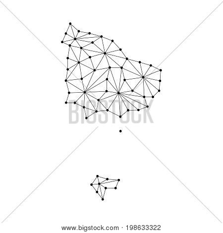 Norfiolk map of polygonal mosaic lines network rays and dots vector illustration.