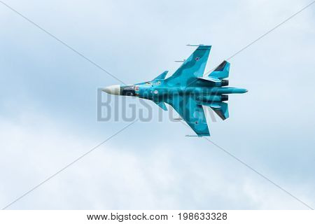 Moscow Region - July 21, 2017: Modern Russian fighter-bomber Sukhoi Su-34 at the International Aviation and Space Salon (MAKS) in Zhukovsky.